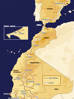 Overall map: 16 stages, from 2004-12-31 to 2005-01-16, Barcelona to Dakar