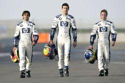 Pilotos de BMW WilliamsF1 Antonio Pizzonia, Mark Webber y Nick Heidfeld