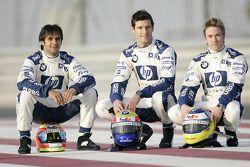 Les pilotes BMW WilliamsF1 Antonio Pizzonia, Mark Webber et Nick Heidfeld