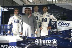 El príncipe heredero de Bahrein con Nick Heidfeld y Mark Webber, Antonio Pizzonia