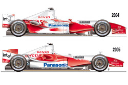 A side view comparison of the TF104B with the new TF105 race car