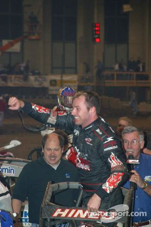 Tracy Hines celebrates in Victory Lane