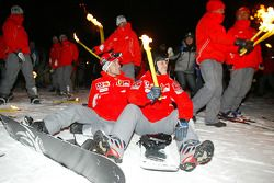 Torchlight procession: Michael Schumacher and Luca Badoer