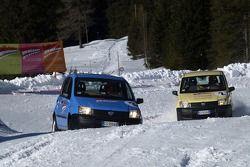 Fiat Panda race: Luca Badoer and Rubens Barrichello