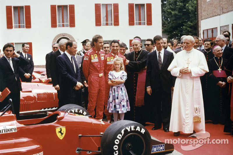 Pope John Paul II visited Maranello on June 4, 1988, but Enzo was too ill to attend and he would die on August 14, less than a month before Berger and Alboreto scored a Ferrari 1-2 at Monza. On the right of His Holiness in this image is Enzo's son, Piero Lardi Ferrari.