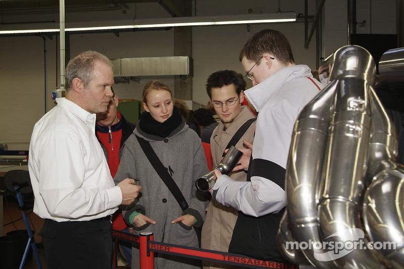 Visitors are shown exhaust parts Fabrication