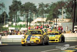 GT racing in the esses: #65 Porsche 911 Carrera RSR of Karl-Heinz Wlazik, Ulli Richter, Dirk Ebeling leads a Venturi