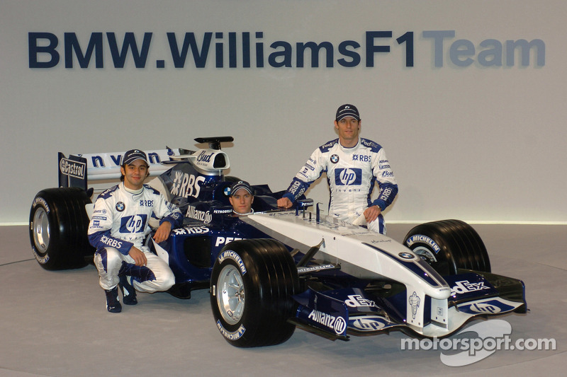 Antonio Pizzonia, Nick Heidfeld and Mark Webber with the new Williams BMW FW27