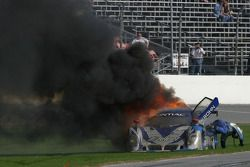 #67 Krohn Racing/ TRG Pontiac Riley on fire: Nic Jonsson jumps out of the car