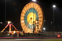 Ferris wheel in action during night practice
