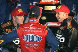 Victory lane: Jeff Gordon congratulates race winner Jimmie Johnson