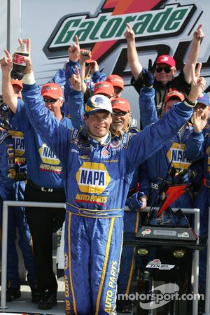 Victory lane: race winner Michael Waltrip celebrates