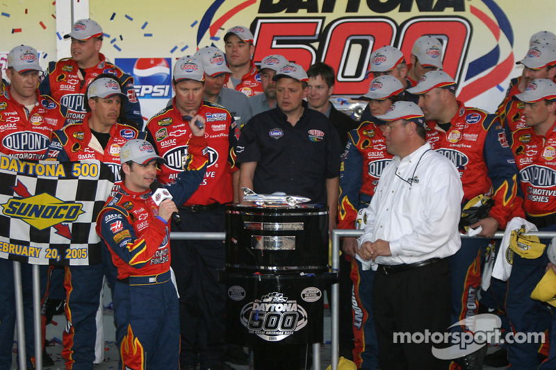 Victory lane: race winner Jeff Gordon presented with the Harley F. Earl Daytona 500 winner's trophy