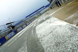 Snow in pitlane