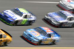 Jimmie Johnson, Bobby Hamilton Jr. and Mike Skinner at speed