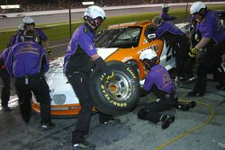 Crown Royal crew work on the car of Danny Lasoski