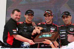 Minardi team launch: Paul Stoddart, Patrick Friesacher, Christijan Albers and Chanock Nissany celebr