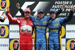 Podium : le vainqueur Giancarlo Fisichella avec Rubens Barrichello et Fernando Alonso