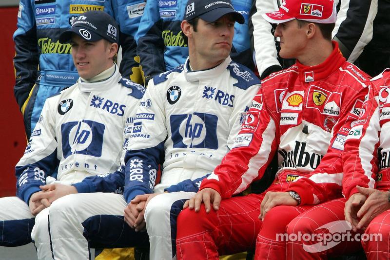 Foto de pilotos: Nick Heidfeld, Mark Webber y Michael Schumacher