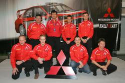 Conferencia de prensa de Mitsubishi: Harri Rovanpera, Risto Pietilainen, Gilles Panizzi, Hervé Paniz