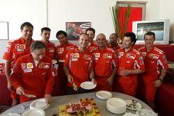 Rubens Barrichello celebrates his 200th Grand Prix