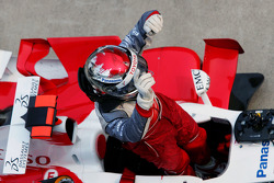 Jarno Trulli celebrates podium finish