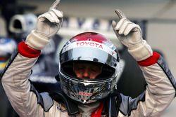 Jarno Trulli celebrates podium finish