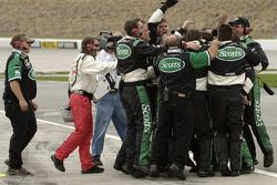 The Scotts Ford crew celebrate victory of Carl Edwards