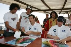 Autograph session for Mark Webber and Nick Heidfeld