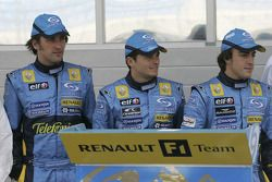Franck Montagny, Giancarlo Fisichella and Fernando Alonso