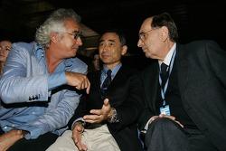 Flavio Briatore, Mr Yasukawa and Gianpaolo Dallara