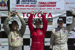 Podium: race winner Katherine Legge with Antoine Bessette and Charles Zwolsman