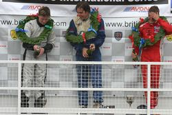 Podium: race winner Danilo Durani with Mike Conway and Marko Asmer