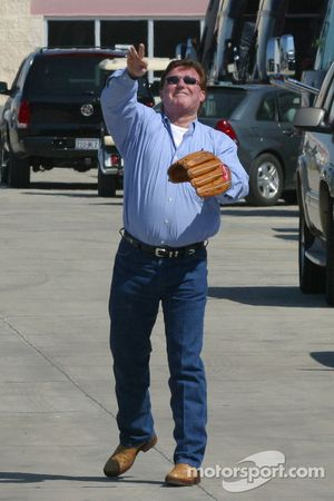Richard Childress works on his baseball skills
