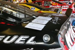Crew chief notes sit on the trunk