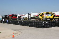 Rows of tires sit ready for the NEXTEL Cup drivers