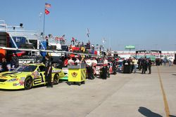 Busch cars wait in line for inspection