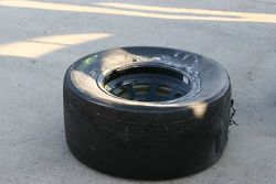 The remains of Kyle Busch's front left tire
