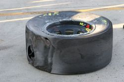 Kyle Busch's front left tire after hitting the wall