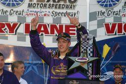 Victory lane: race winner Sébastien Bourdais celebrates