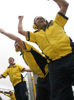 Camel Honda team members celebrate victory