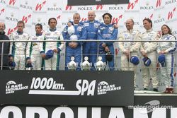 LMP1 podium: race winners Hayanari Shimoda, John Nielsen and Casper Elgaard, with Jean-Christophe Boullion, Erik Comas, Emmanuel Collard, and Martin Short, Rob Barff, Vanina Ickx