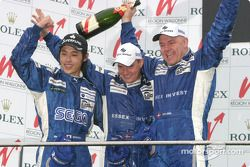 LMP1 podium: race winners Hayanari Shimoda, John Nielsen and Casper Elgaard