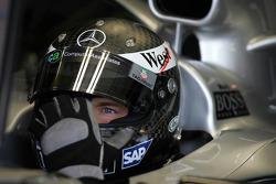 Alexander Wurz tests a new helmet from Arai