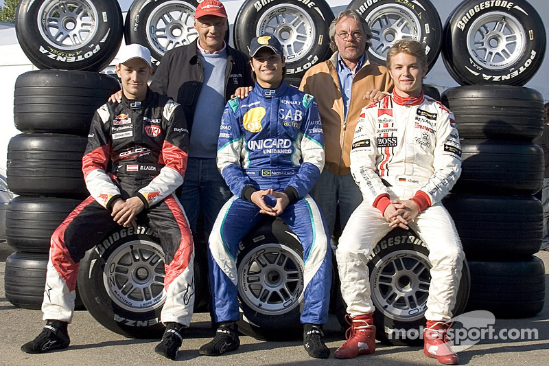 Former World Champions Niki Lauda and Keke Rosberg with Mathias Lauda, Nelson A. Piquet and Nico ...