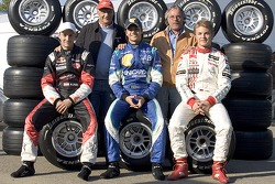 Former World Champions Niki Lauda and Keke Rosberg with Mathias Lauda, Nelson A. Piquet and Nico Rosberg
