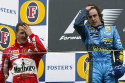 1. Fernando Alonso, Renault; 2. Michael Schumacher, Ferrari