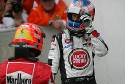 Michael Schumacher, Ferrari; Jenson Button, BAR