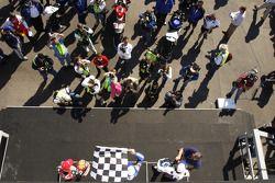 Podium: race winner Matt Mladin with Neil Hodgson and Ben Spies