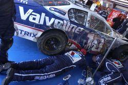 Valvoline Chevy crew members work on the car